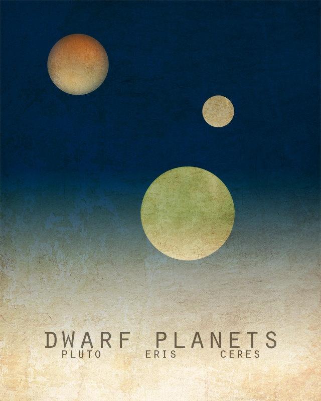 11x14 Pluto Dwarf Planets Astronomy Print Solar System ...
