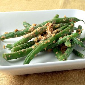Green Beans Tossed with Walnut-Miso Sauce. This was really tasty! I ...