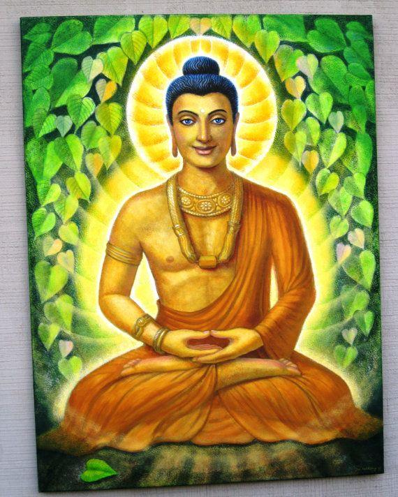 Buddha painting siddhartha gautama meditation art original for Buddha mural paintings