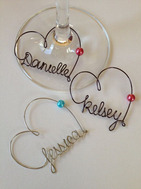 of 8 Wine Glass Charms, Personalized, Wedding Favor, Wine Glass Charms ...