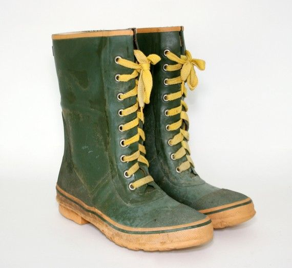 Yugoslavian Made Lace Up Rubber Boot Fashion For Hiking And Other O
