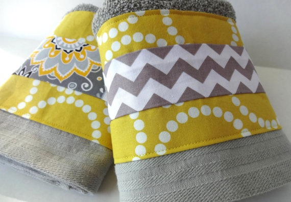 Yellow and grey chevron bathroom towels set of two yellow and grey