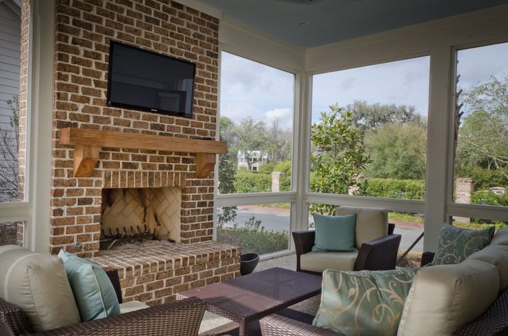screened porch fireplace favorite places
