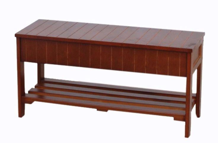 Solid Wood Shoe Bench Storage Organizer Roundhill Cherry Finish Furni