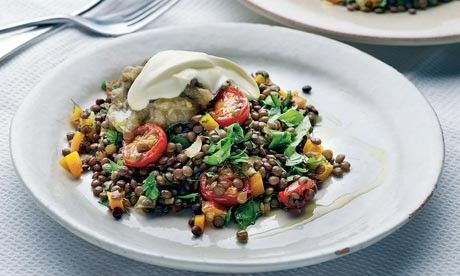 Lentils with grilled aubergine by Yotam Ottolenghi from Plenty