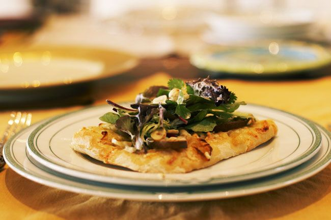 Caramelized onion, pear and Gorgonzola pizza. A family favorite.
