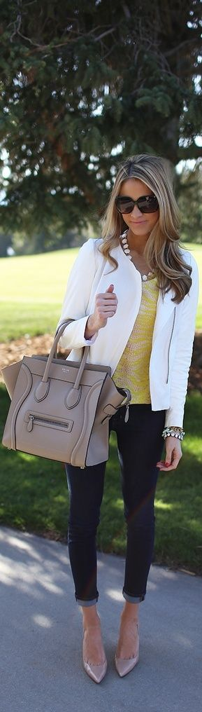 White Blazer, Yellow Top, Jeans