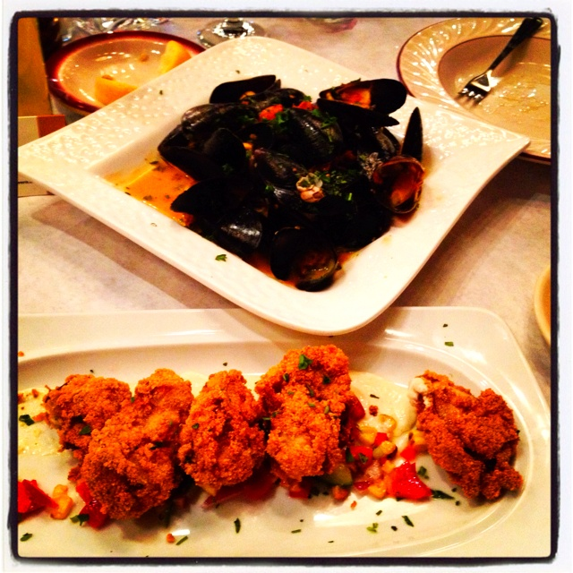 Mussels with Chorizo and Fried Oysters with horseradish and spring ...