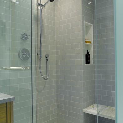 Light grey subway tile bathroom pinterest for Grey subway tile shower