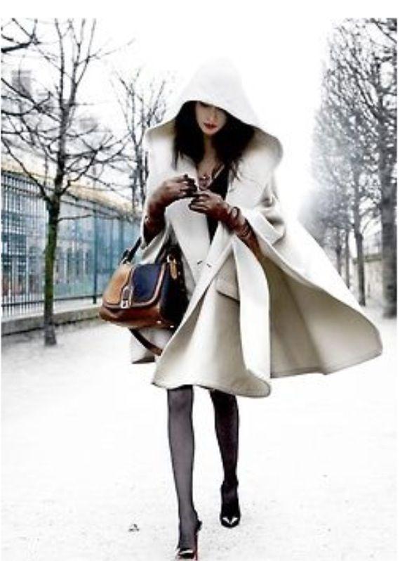 Hooded Cape Coat Fashion Pinterest