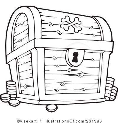 Pirate Treasure Chest Black And White Pictures to Pin on Pinterest