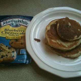 Blueberry Cheesecake Pancakes! -Martha White Blueberry Cheesecake ...