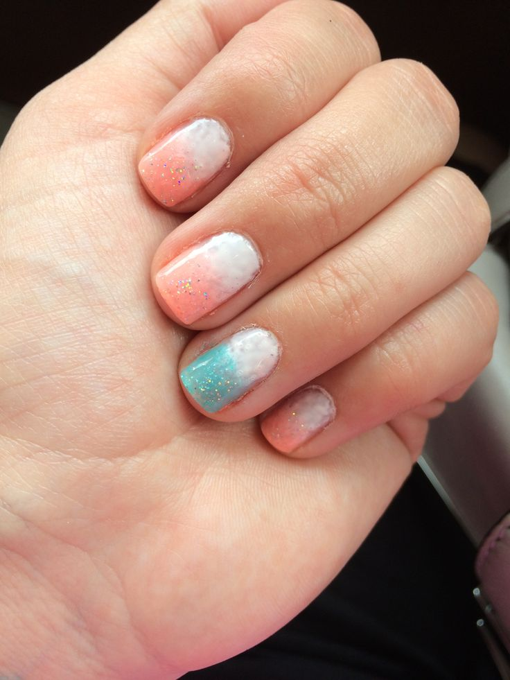 Neon melon and teal ombré gel nails. Summer nails. | Beauty School
