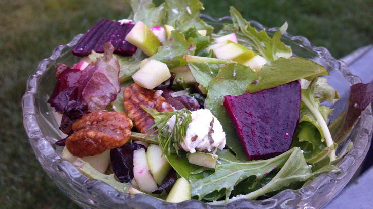 Beet Salad with Herbed Goat Cheese, Green Apple and Candied Pecans