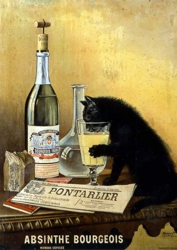 ... year ago absinthe drinking black cat absinthe bourgeois ca 1900 france
