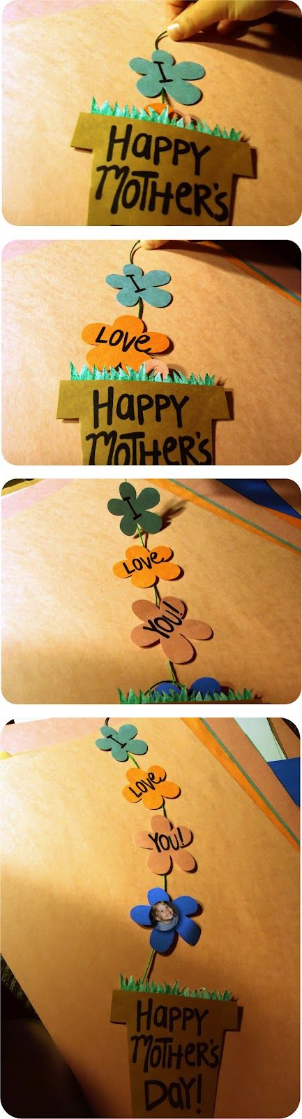 Happy Mother's Day flower pot card (I love the idea of helping kids of single moms [or dads] do crafts like this for their parents!)
