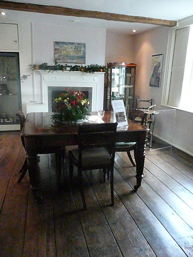 The Dining Room, where Jane Austen wrote. See the small writing table at the far right near the window.