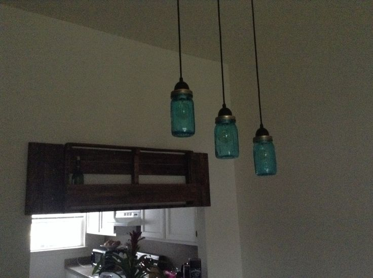 Mason Jar Pendant Lights Gave Them The Vintage Blue Look
