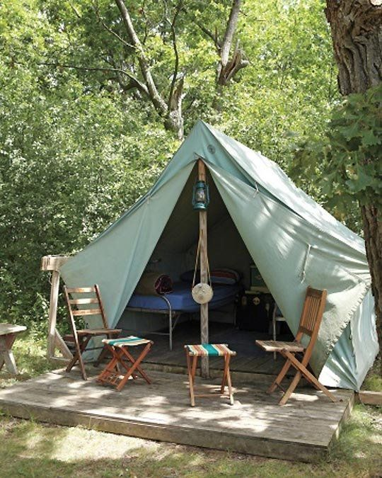 Flea market chic camp wandawega martha stewart magazine for Canvas platform tents