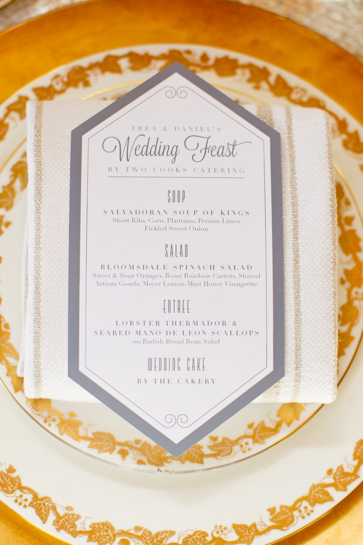 menu for a wedding feast by http://www.umbrellatreedesign.com/  Photography By / http://mikelarson.com
