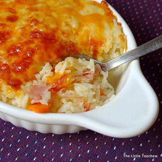 Easy Cheesy Baked Rice: - 6 to 7 tbsp chicken stock - 2 tbsp heavy ...