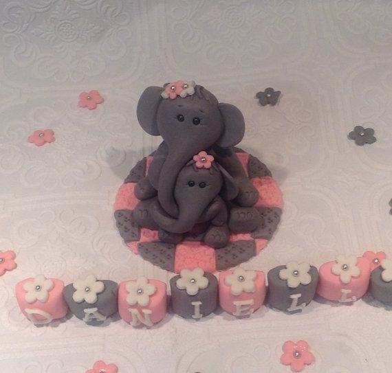 elephant baby shower cake topper fondant edible decorations baby show