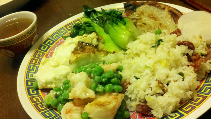 ... stir fried shrimp and peas, green onion pie, stir fried baby bok choy