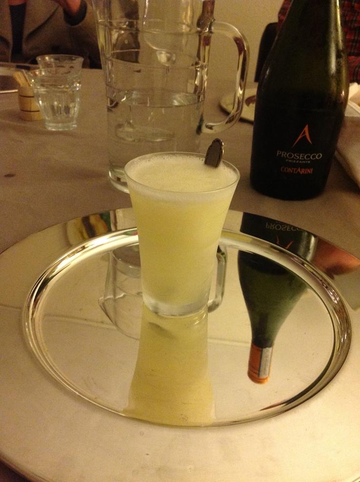 Sgroppino - vodka, lemon sorbet and prosecco, and Venice. Delicious.