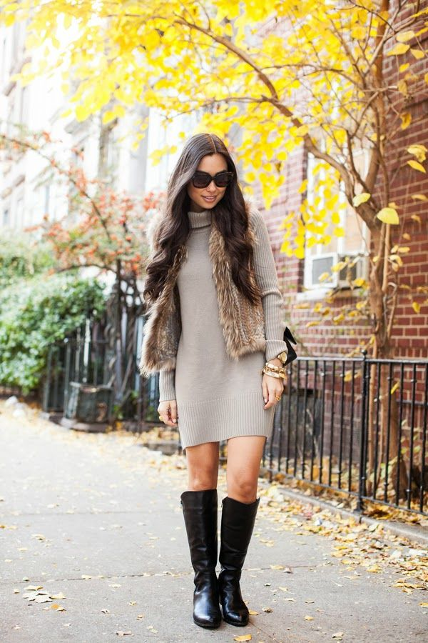Gorgeous Gray Sweater Mini Dress With Black Long Shoes