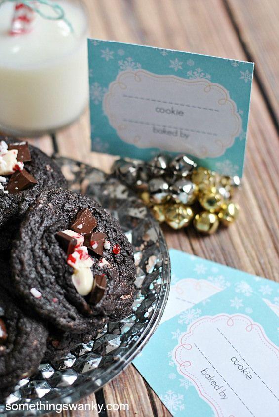 Peppermint Bark Dark Chocolate Pudding Cookies & Cookie Exchange ...