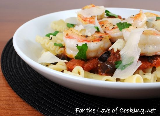 ... » Shrimp and Olive Marinara over Galletti Topped with Parmesan