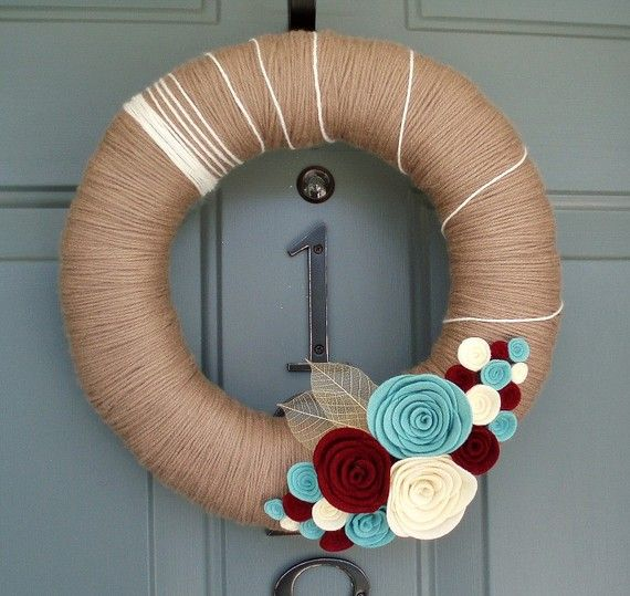 Yarn Wreath Felt Handmade Door Decoration - Soft Taupe 12in Fall Autu ...