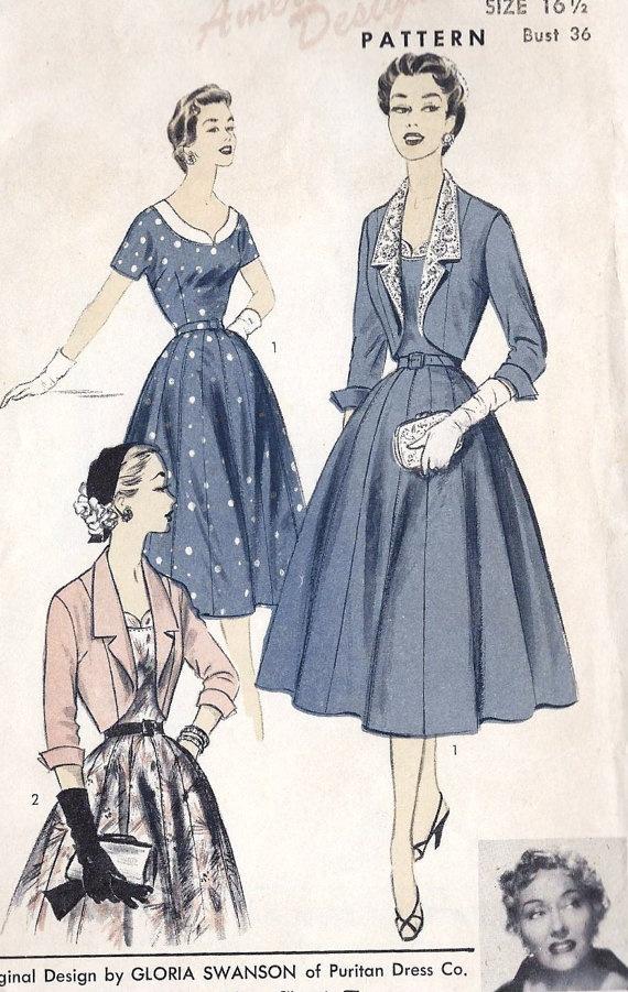 1950s designer fashion cocktail dress and bolero misses vintage sewin