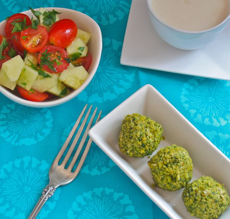 Baked Falafel with Tangy Tahini Sauce and Tomato-Cucumber Salad from ...