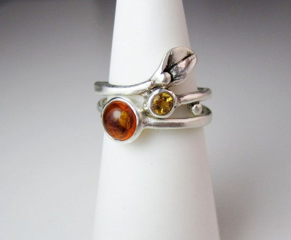 Amber Citrine Set Rings Silver Small Leaf Ring By Everybearjewel