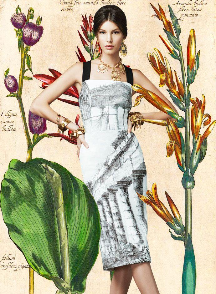 Посмотрите на День DolceGabbana Весна Лето 2014 Женская Храмовой печати Сдвиг платье
