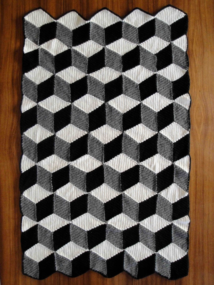 Isometric Blanket  Afghan  Geometric Black White & Grey Crochet Crochet Blanket Black And White