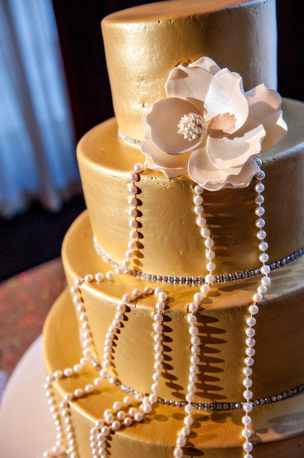 Gold Fondant Wedding Cake