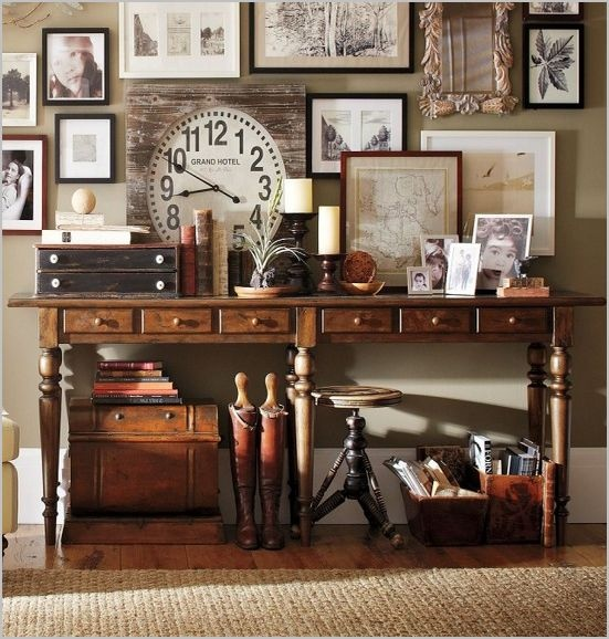 Pottery barn entryway industrial rustic pinterest for Pottery barn foyer ideas