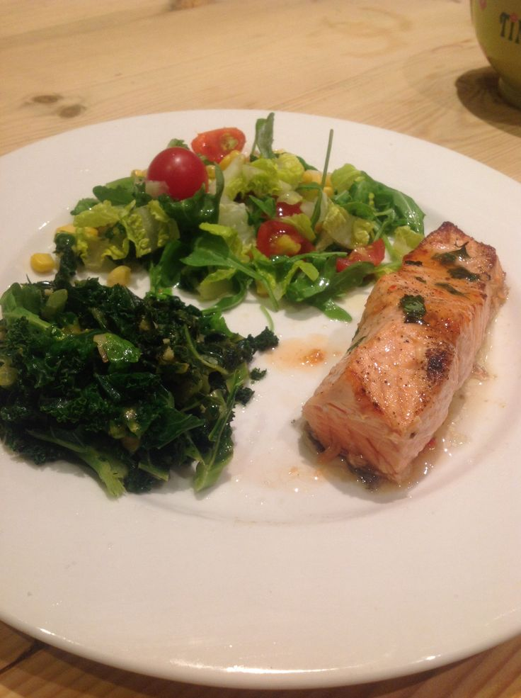 chilli salmon, kale and spinach with ginger, lemon,garlic and salad ...