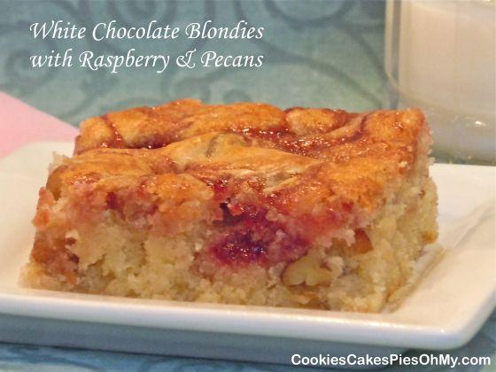 White Chocolate Blondies with Raspberry & Pecans