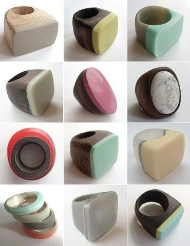 wood and resin rings by maeko
