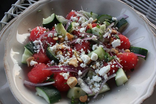 Watermelon Cucumber Salad...made for a BBQ this weekend and it was ...
