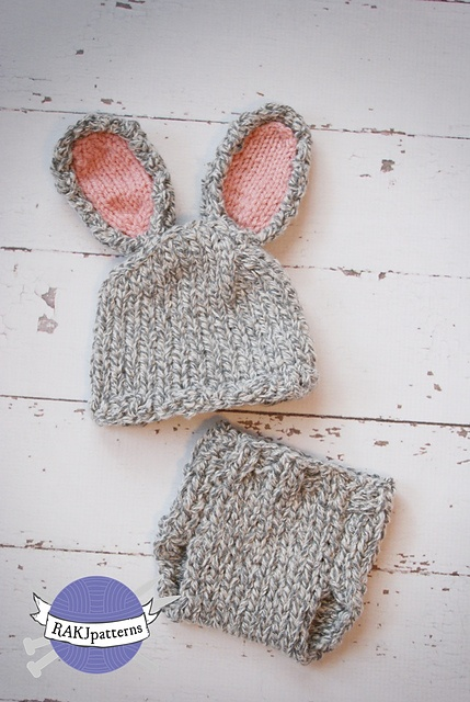 Free Crochet Pattern For Bunny Ears And Diaper Cover : Bunny Hat and Diaper Cover Set KNIT (Uneek) pattern by ...