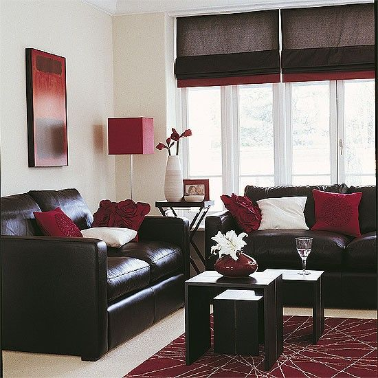 Chocolate brown sofa, cranberry red and ivory pillows, tables, rest neutral (forget wall coverings, curtains, rug)