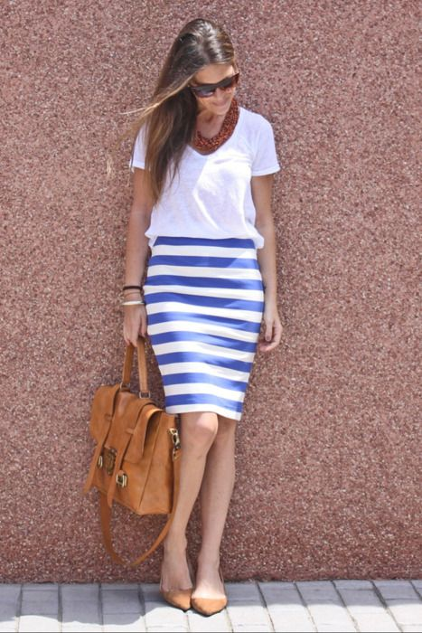 stripe skirt with tee and hand bag