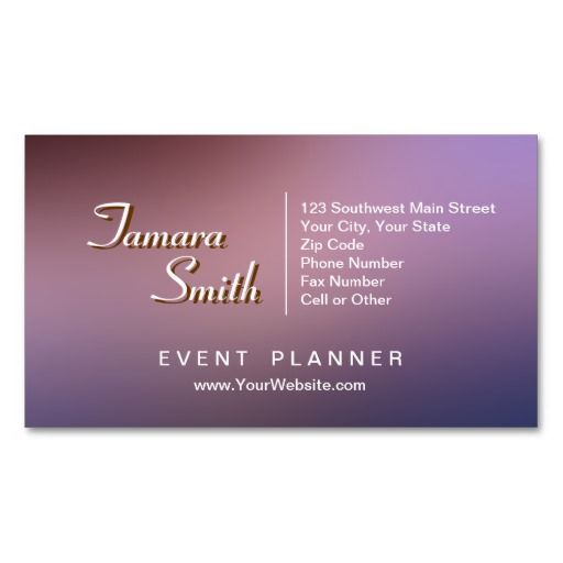 Purple red and pink event planner business card template for Event planner business card