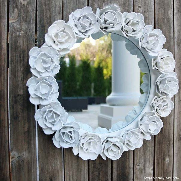 How to Make Pretty Flower Mirror Decoration from Egg Carton | iCreativeIdeas.com Like Us on Facebook ==> https://www.facebook.com/icreativeideas