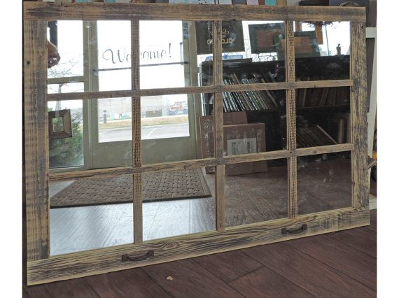 Window Pane Mirror 46 X 36  Painted Barnwood  by ABWframes on Etsy, $159.00