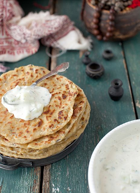 Four Grains Soup and Potato Stuffed Flatbread (Aloo Paratha) and Mint ...